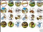 24 x MADAGASCAR rice paper Cake Toppers tops 1.6''